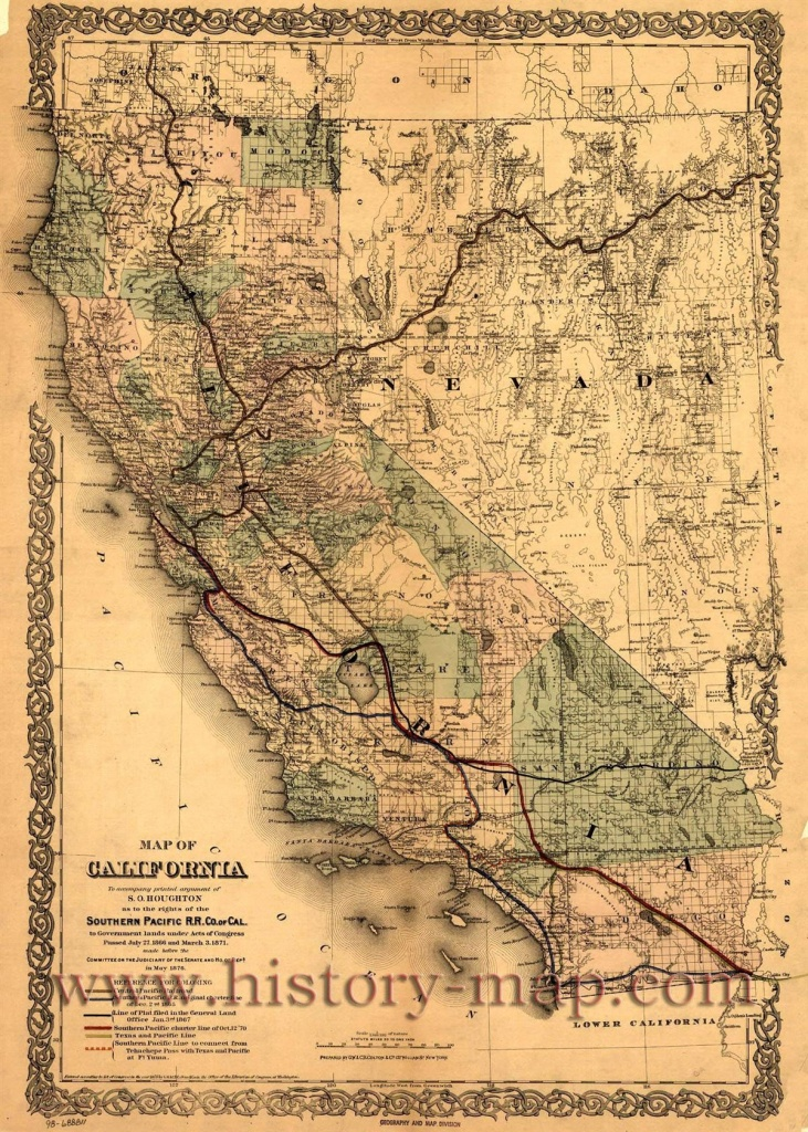 Southern Pacific Railroad Map Of California And Surrounding States - Old Maps Of Southern California