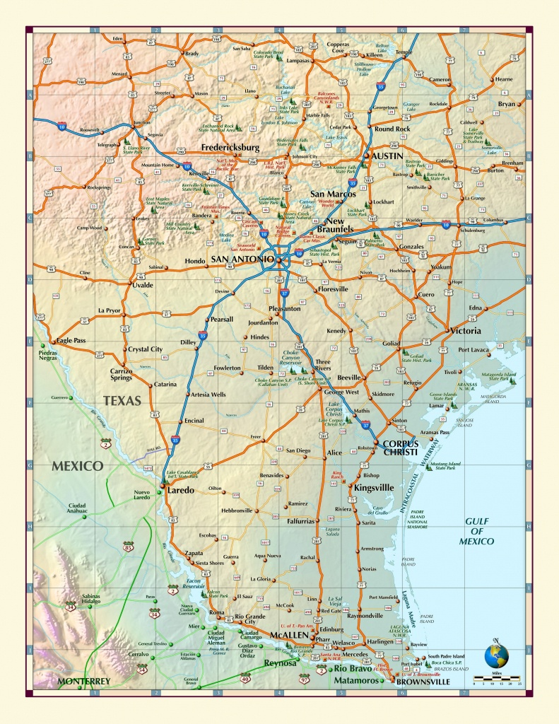 Southern Texas Wall Map - Maps - South Texas Cities Map