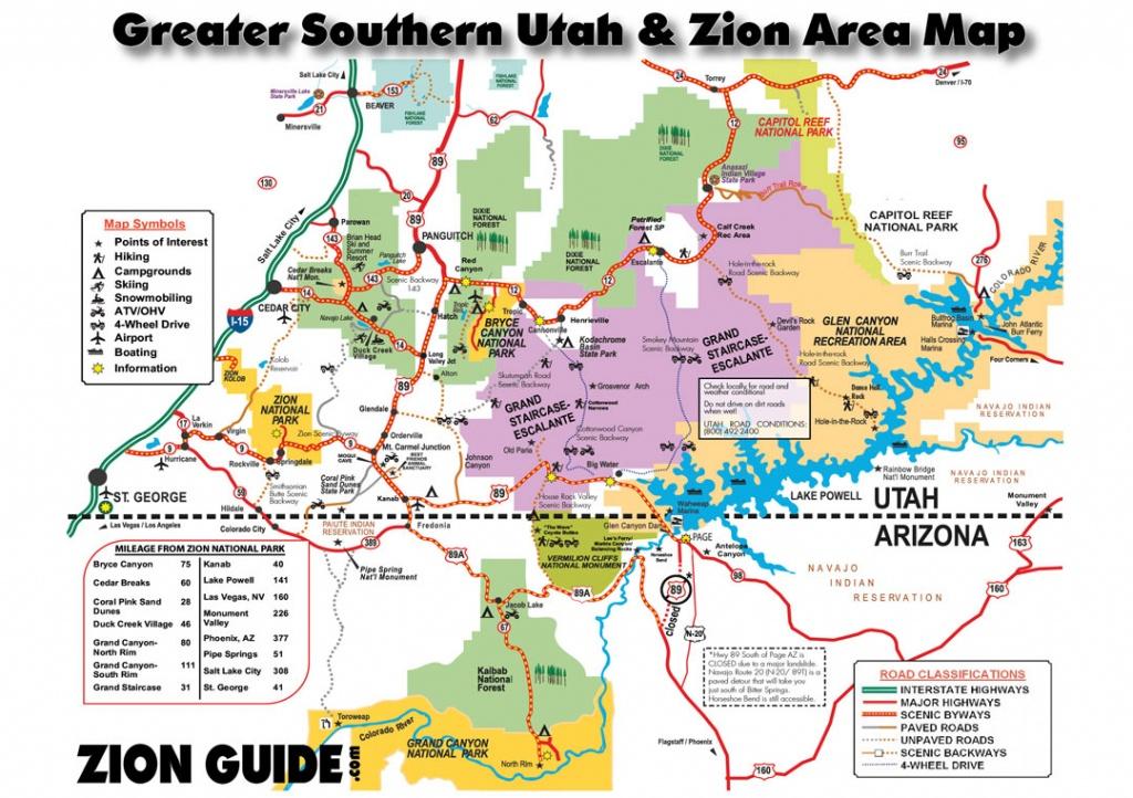 Southern Utah & Zion Area Map   Utah State & National Parks Guide - Printable Map Of Utah National Parks