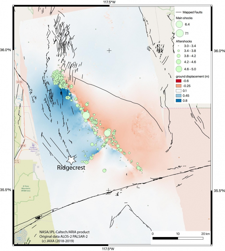 Space Images   Nasa Map Shows Ground Movement From California Quakes - Show Map Of Southern California