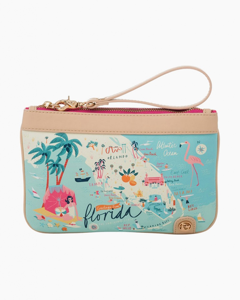 Spartina 449 Florida Map Zip Wristlet | The Paper Store - Florida Map Purse