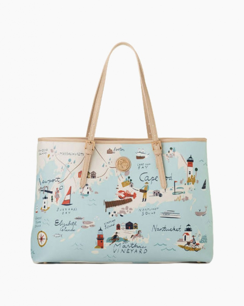 Spartina 449 Northeastern Harbors Map Tote Bag | The Paper Store - Florida Map Purse