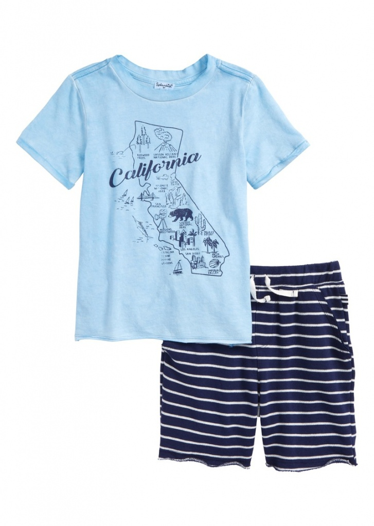 Splendid Splendid California Map T-Shirt & Shorts Set (Toddler Boys - California Map T Shirt