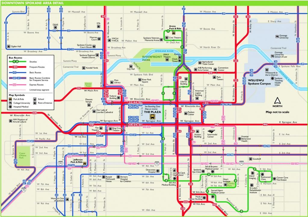 Spokane Downtown Transport Map - Downtown Spokane Map Printable