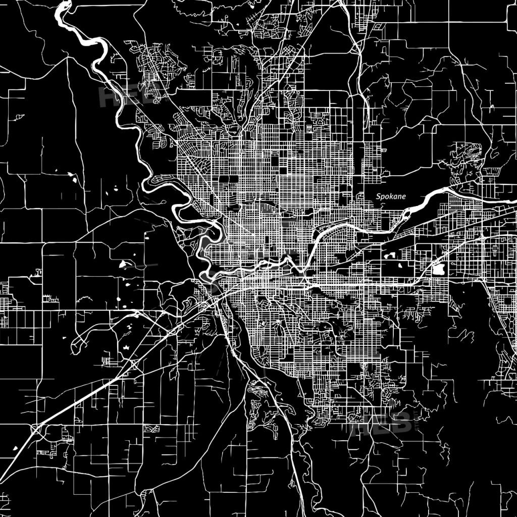 Spokane, Washington, Downtown Map, Dark | Hebstreits Sketches - Downtown Spokane Map Printable