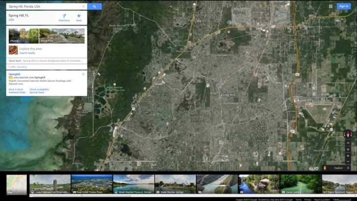 Map Showing Spring Hill Florida