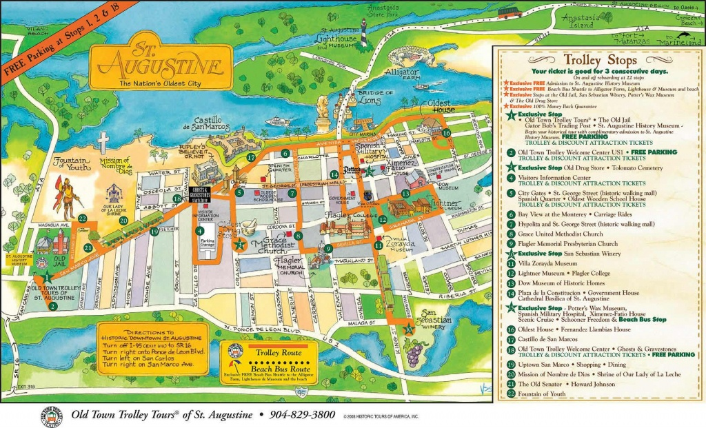 St Augustine Fl | Click To View The Full Size Image. Courtesy Of - St Augustine Florida Map Of Attractions