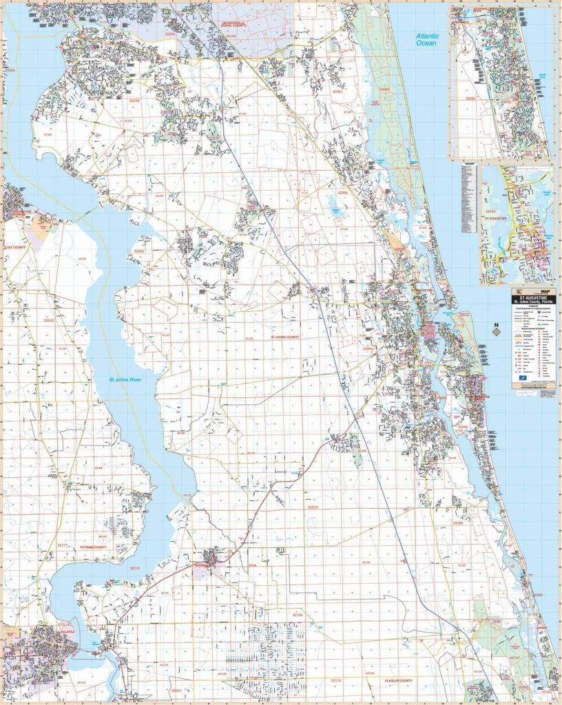 St Augustine, Fl Wall Map - Map Of St Johns County Florida