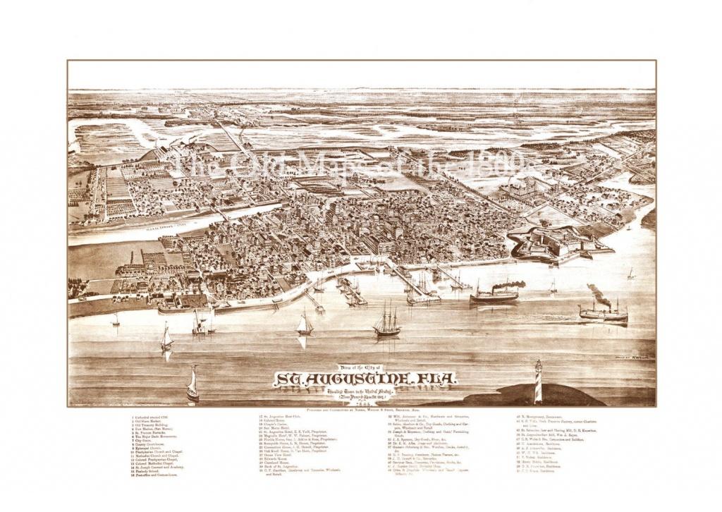 St. Augustine Florida In 1885 Bird's Eye View Map | Etsy - Map Of Hotels In St Augustine Florida