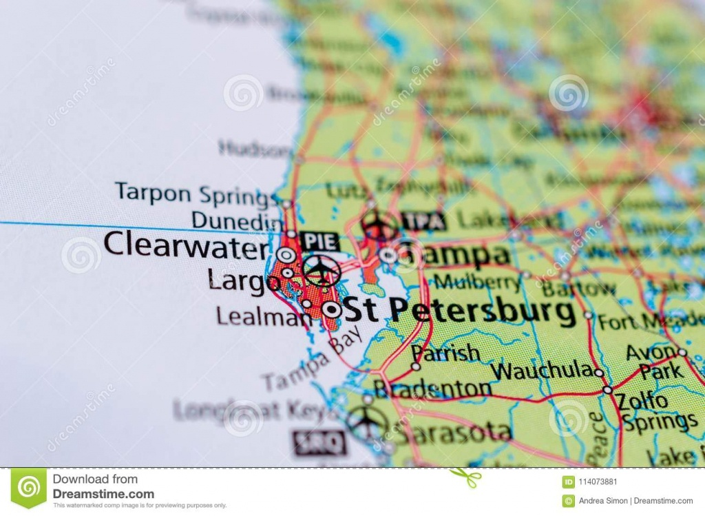 St. Petersburg, Florida On Map Stock Image - Image Of Cities, Maps - St Pete Florida Map