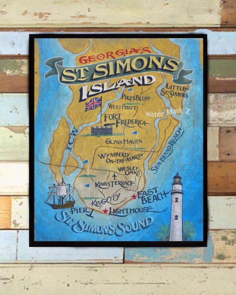 St. Simons Island Map Print From An Original Hand Lettered Sign. Golden  Isle Art, Beach Decor, Map Art, Travel Map, Beach House, Georgia - Printable Map Of St Simons Island Ga