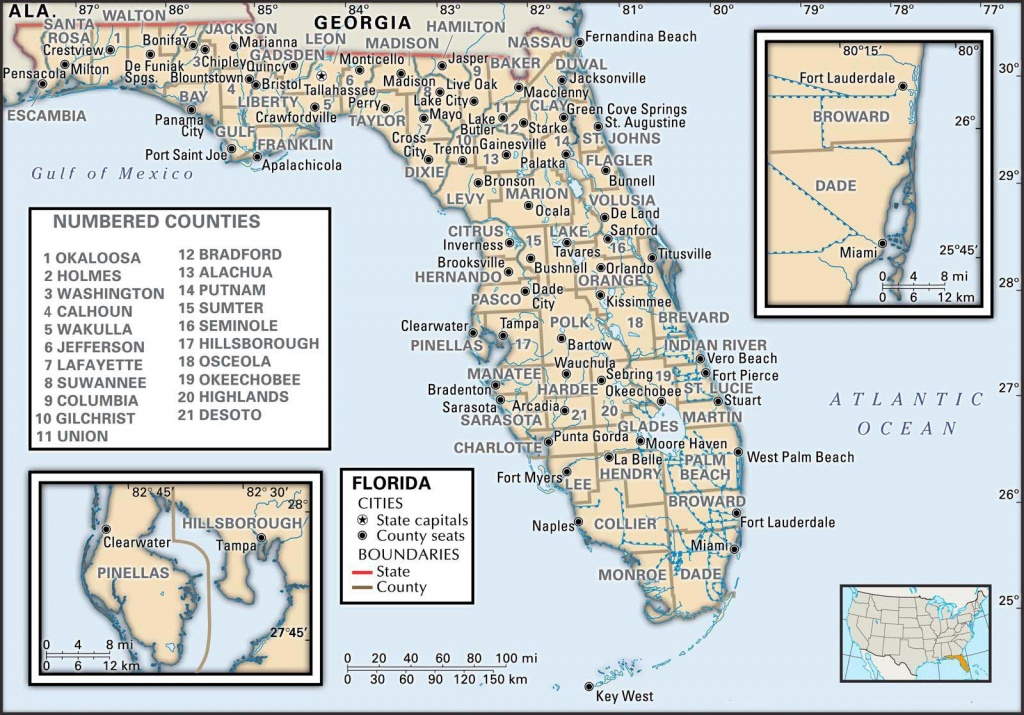 State And County Maps Of Florida - Highland Beach Florida Map
