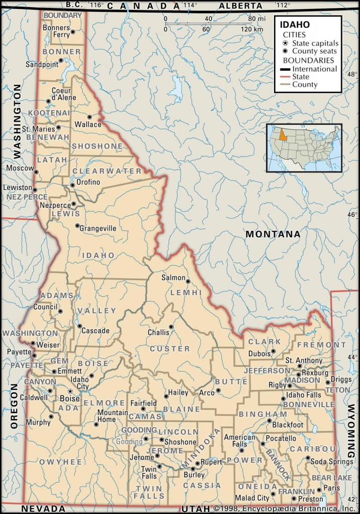 State And County Maps Of Idaho - Printable Map Of Idaho