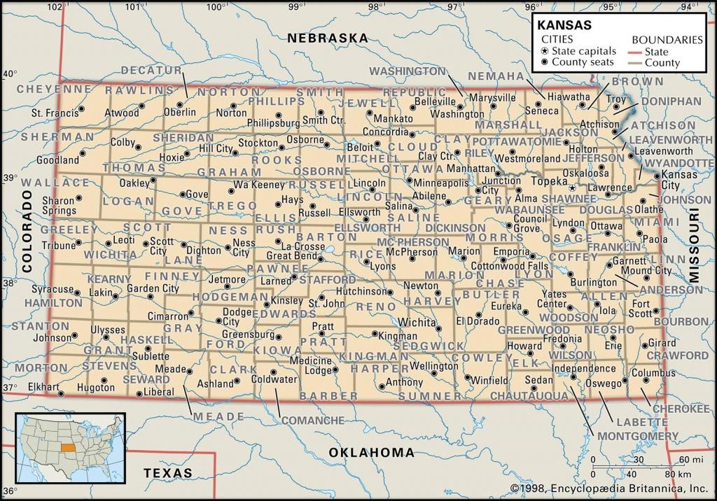 State And County Maps Of Kansas - Printable Map Of Kansas