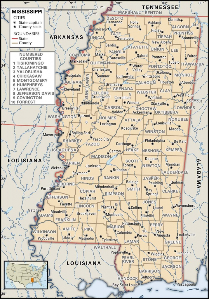State And County Maps Of Mississippi - Printable Map Of Mississippi