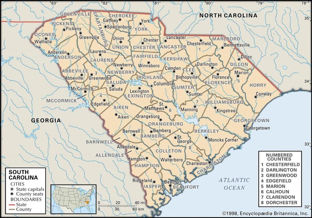 State And County Maps Of South Carolina - Printable Map Of South Carolina