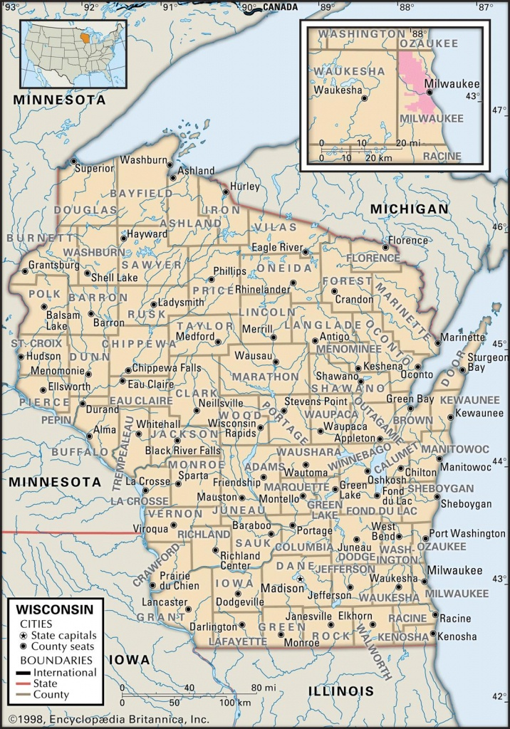State And County Maps Of Wisconsin - Printable Map Of Wisconsin Cities