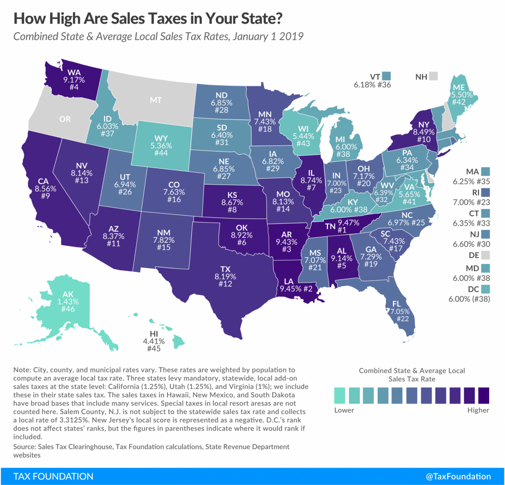 State And Local Sales Tax Rates, 2019 | Tax Foundation - Texas Sales Tax Map