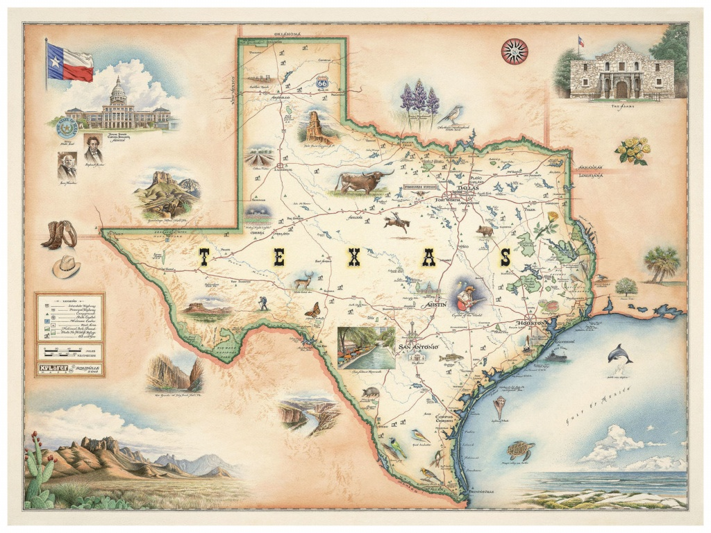 """State Of Texas Hand-Drawn, Antique-Style Map (9"""" X 12"""")Artist - Vintage Texas Map"""