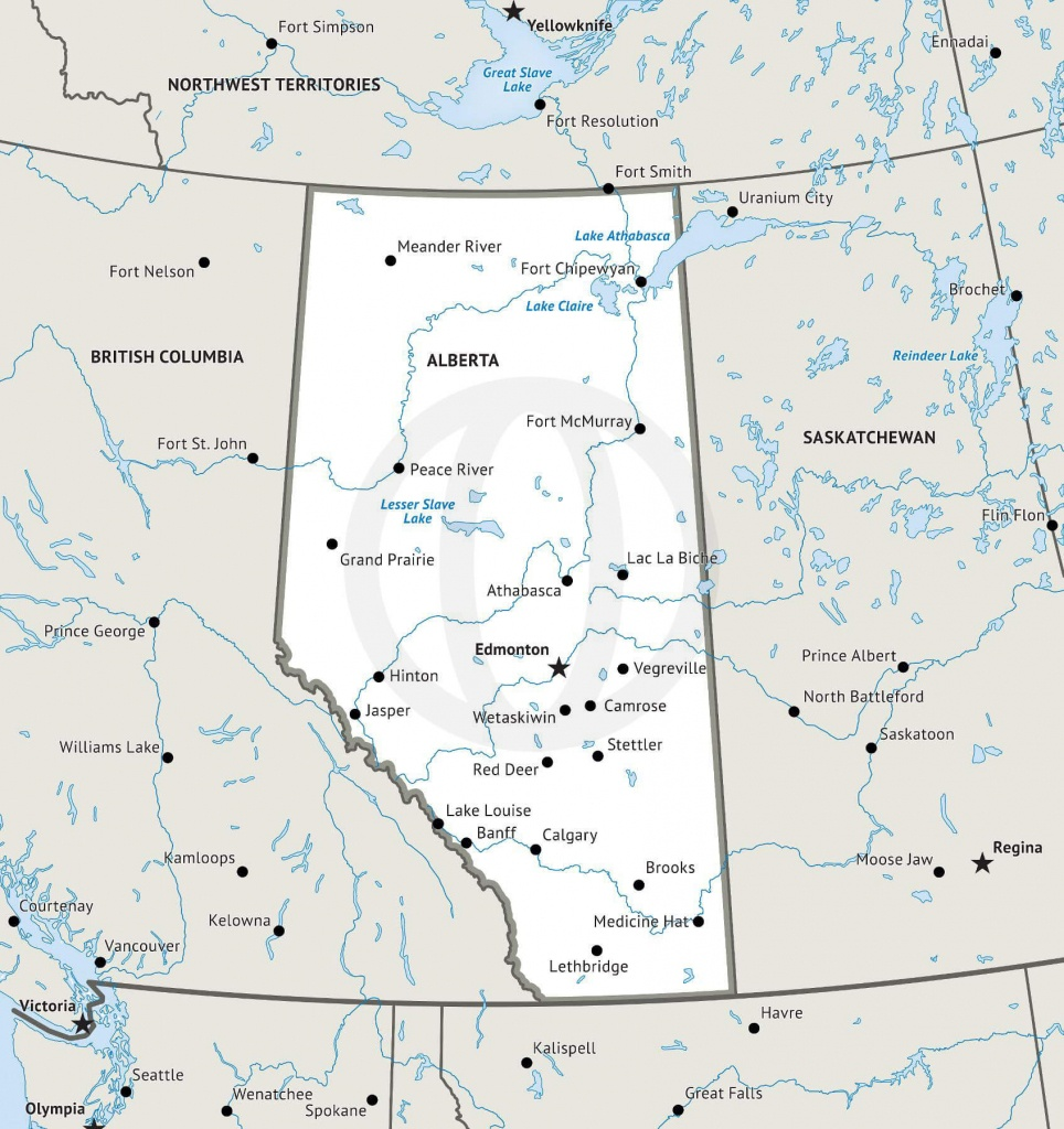 Stock Vector Map Of Alberta | One Stop Map - Printable Map Of Alberta