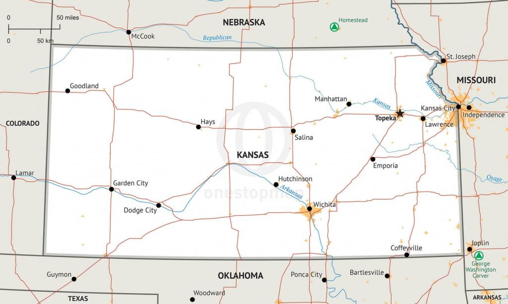Stock Vector Map Of Kansas   One Stop Map - Printable Map Of Kansas