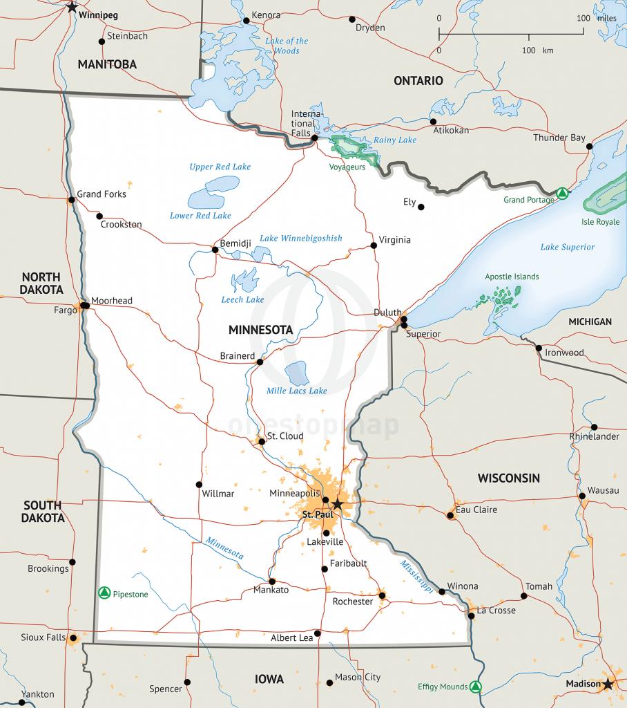 Stock Vector Map Of Minnesota   One Stop Map - Printable Map Of Minnesota