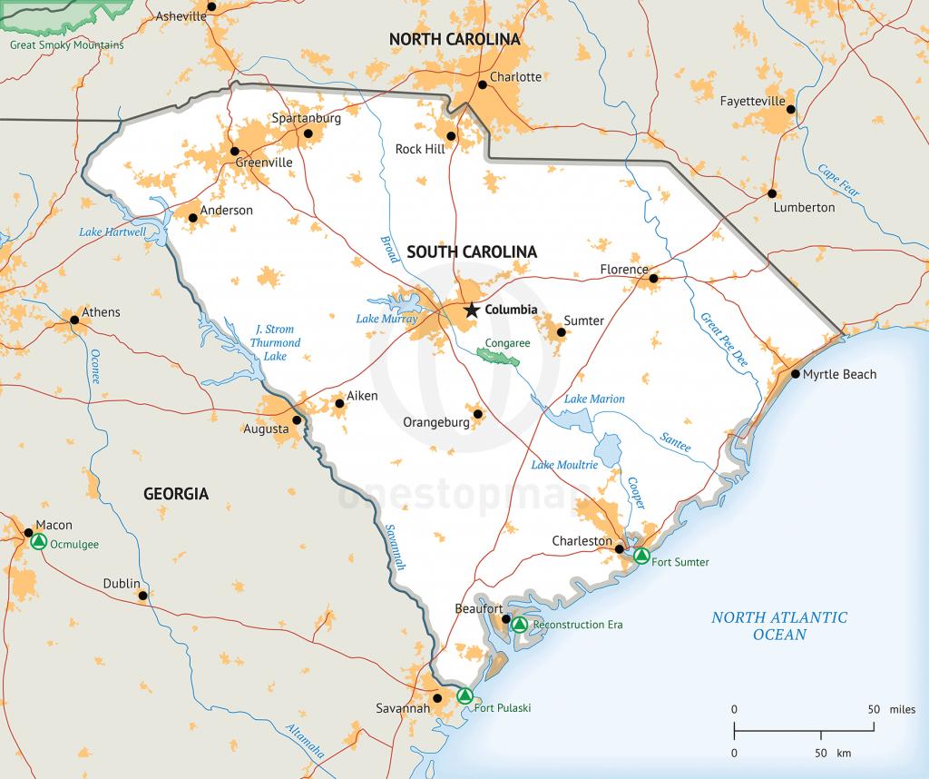 Stock Vector Map Of South Carolina | One Stop Map - Printable Map Of South Carolina