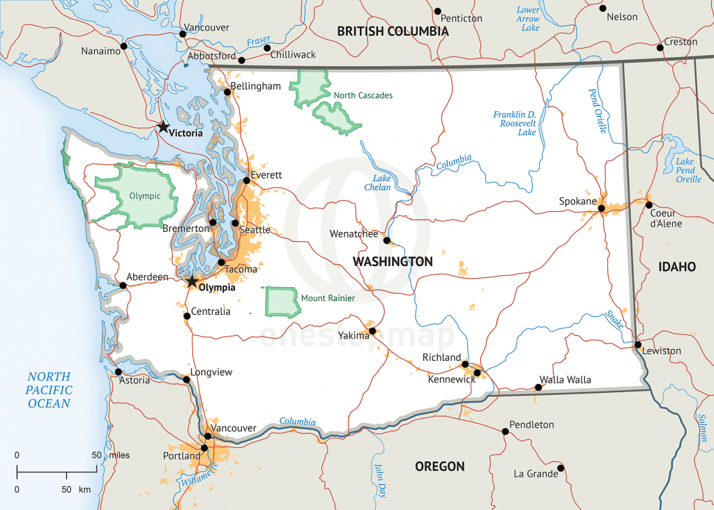 Stock Vector Map Of Washington   One Stop Map - Printable Map Of Washington State