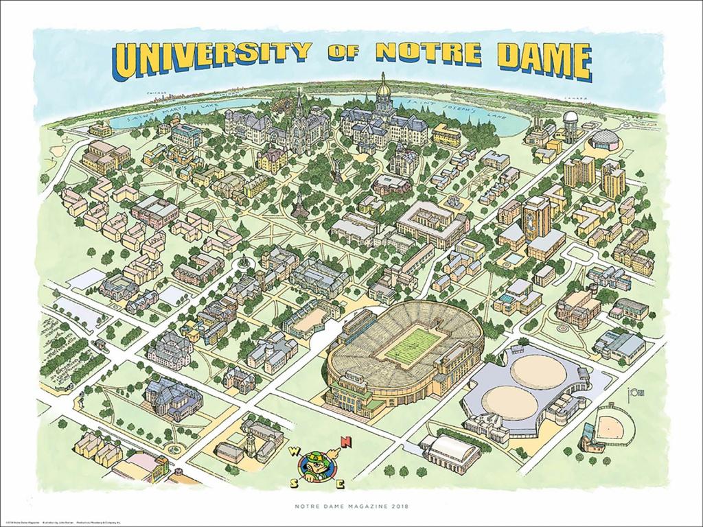 Store | Notre Dame Magazine | University Of Notre Dame - Notre Dame Campus Map Printable