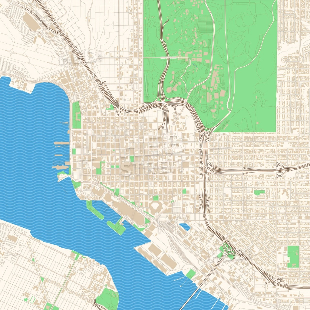 Street Map Of Downtown San Diego, California | Hebstreits Sketches - California Street Map
