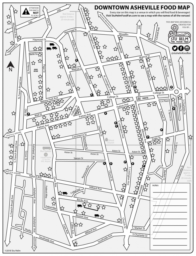 Stu Helm's Mega Food Maps: Downtown Asheville – All Food And Drinks - Printable Map Of Downtown Asheville Nc