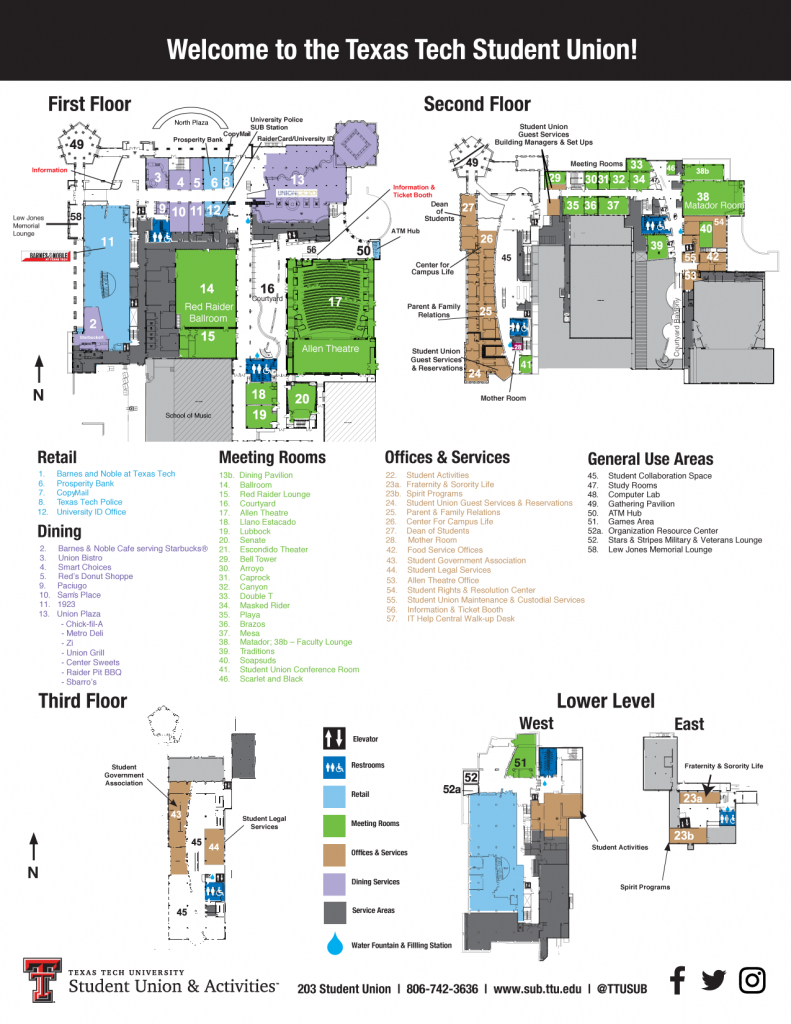 Sub Map   Student Union & Activities   Ttu - Texas Tech Housing Map