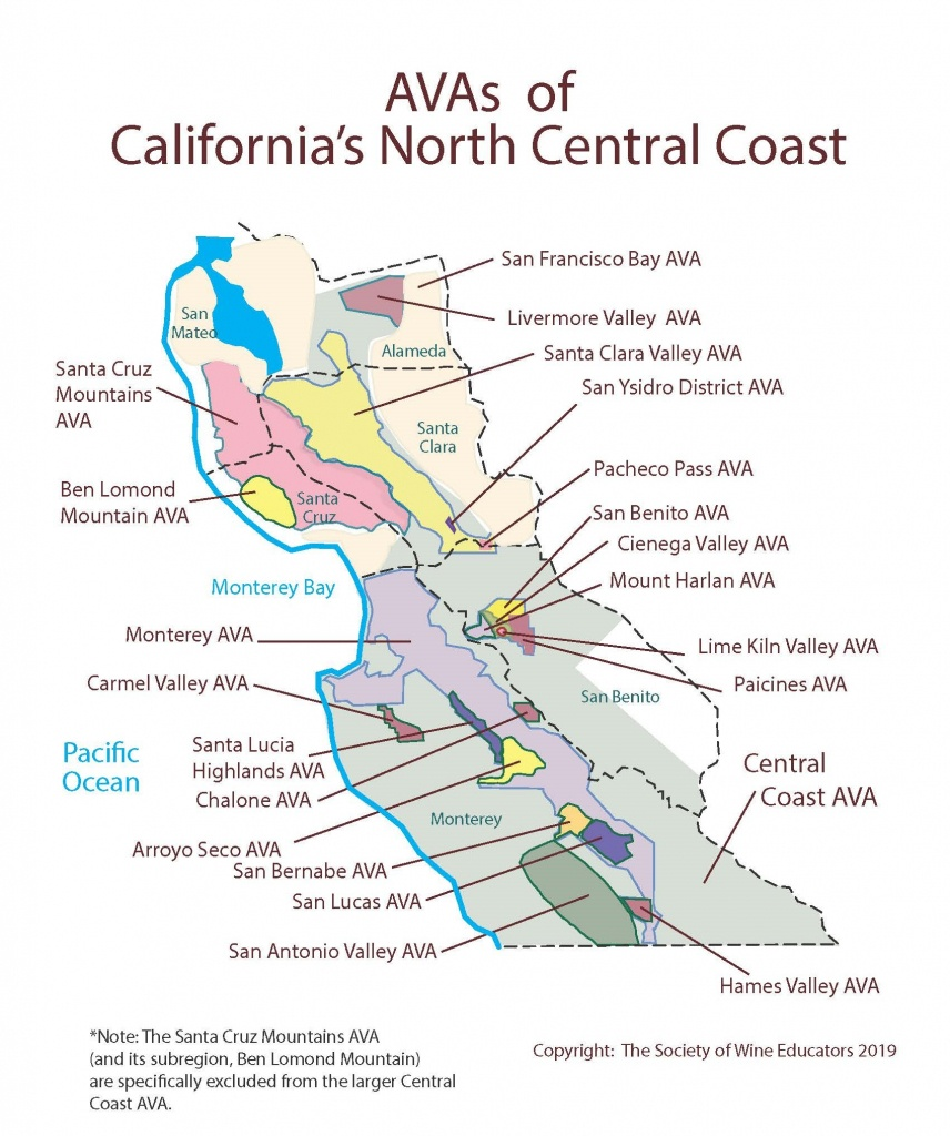 Swe Map 2019: California—Northern Central Coast – Wine, Wit, And Wisdom - Central Coast California Map