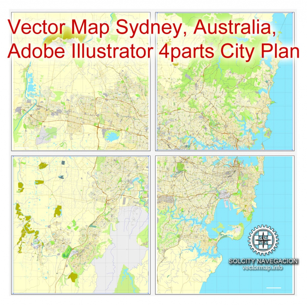 Sydney, Australia In Adobe Pdf, Printable Vector Street 4 Parts City - Printable Street Map Of Port Macquarie