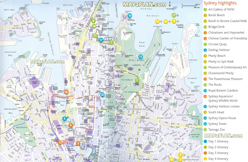 Sydney Maps - Top Tourist Attractions - Free, Printable City Street Map - Printable Map Of Sydney Suburbs