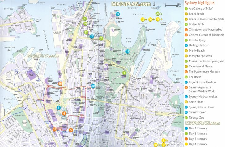 Sydney Tourist Map Printable