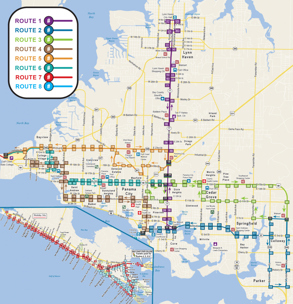 System Map | Bay Town Trolley - Map Of Panama City Florida And Surrounding Towns