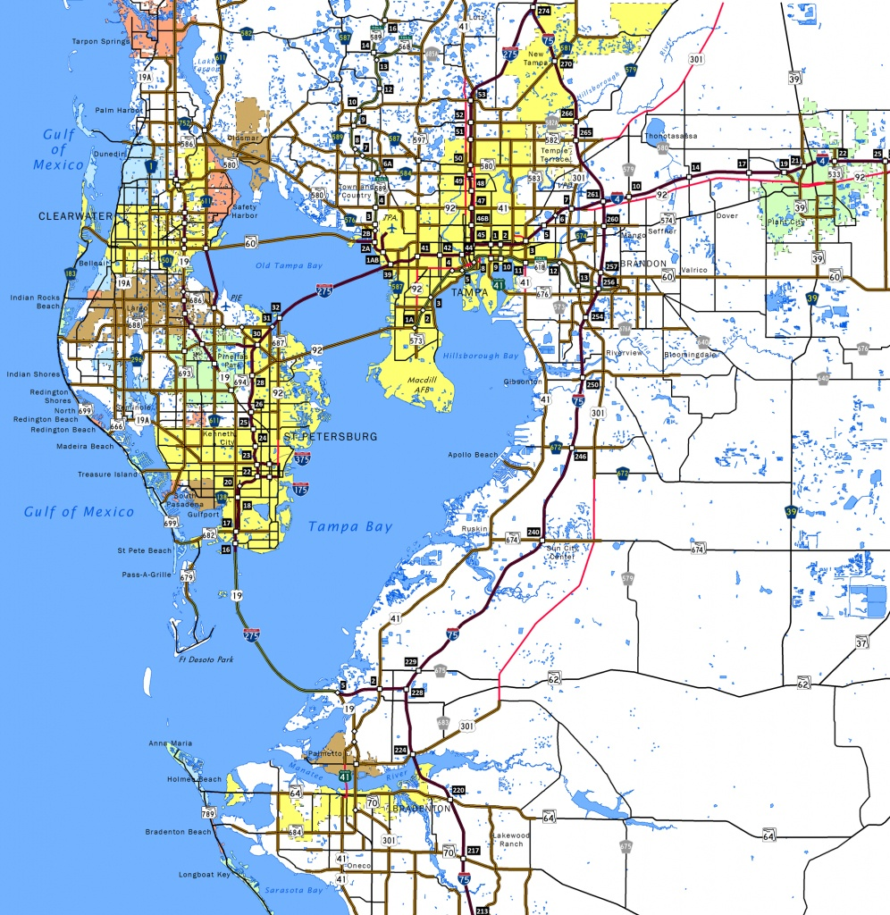 Tampa Fl County Map And Travel Information | Download Free Tampa Fl - Tampa Florida Map With Cities