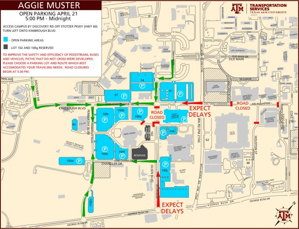 "Tamu Transport Svcs On Twitter: "".@tamu Muster Parking Will Be Open - Texas A&m Parking Map"