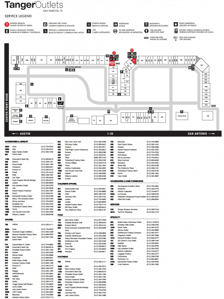 Tanger Outlets San Marcos (103 Stores) - Outlet Shopping In San - Tanger Outlet Texas City Map
