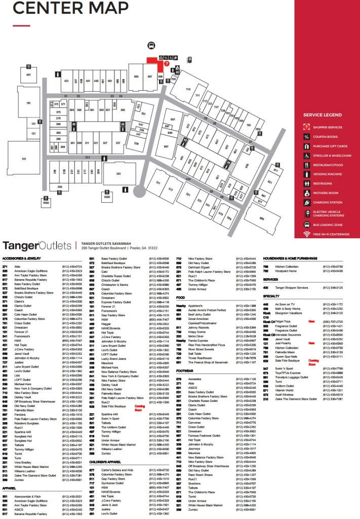 Tanger Outlets Savannah - Store List, Hours, (Location: Pooler - Tanger Outlet Texas City Map