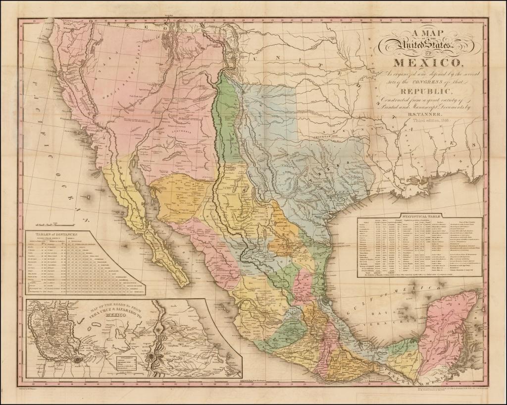 Tanner's Map Of Mexico - Rare & Antique Maps - Antique Texas Map