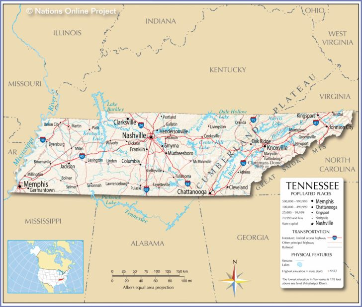 Printable Map Of Tennessee With Cities