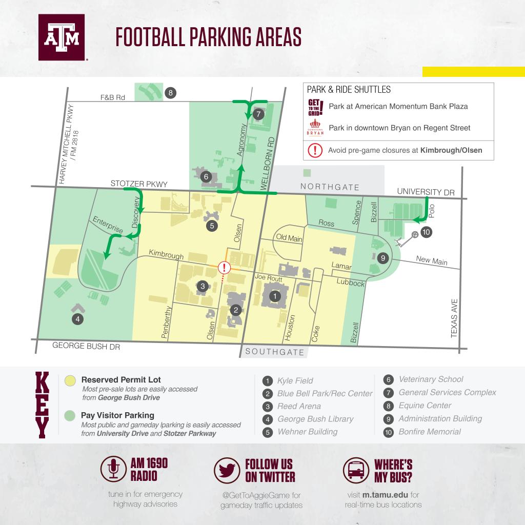 Texas A&m Football Game Day Guide 2017 - Texas A&m Today - Texas Tech Football Parking Map 2017