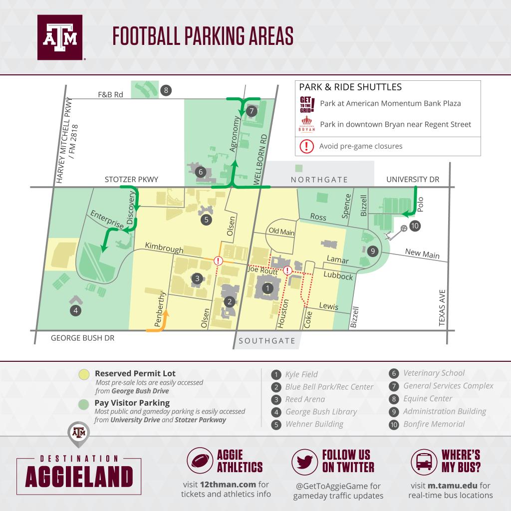 Texas A&m Football Gameday - 12Thman - Texas A&m Football Parking Map