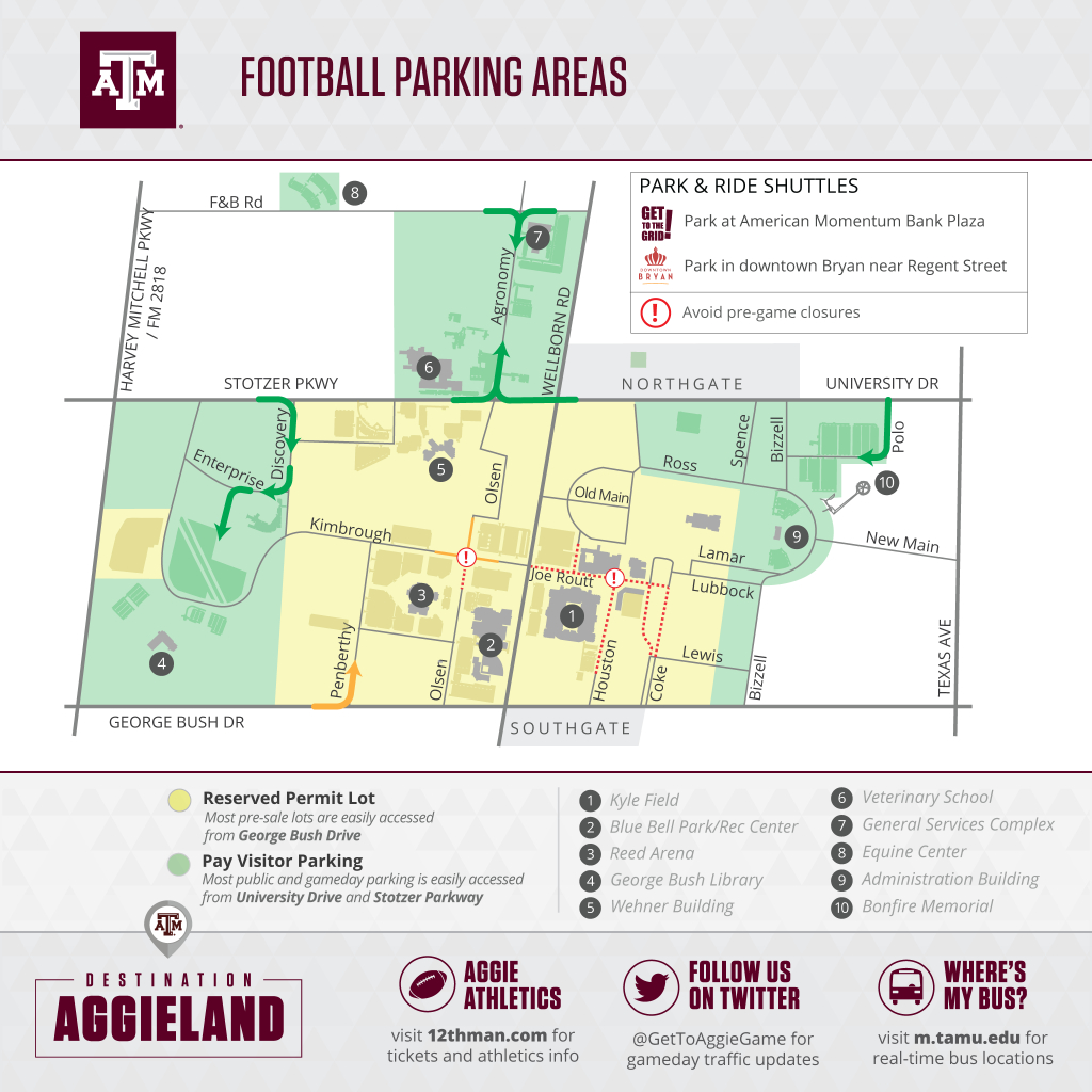 Texas A&m Football Gameday - 12Thman - Texas A&m Parking Map