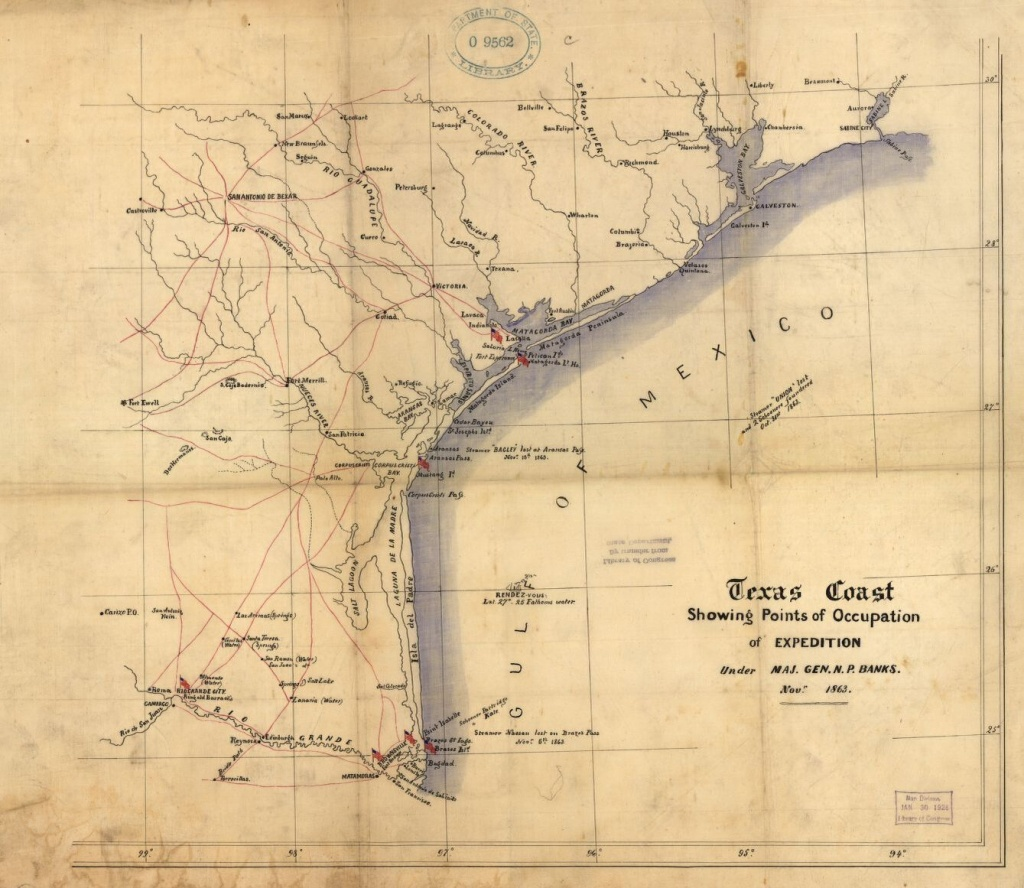 Texas Coast Showing Points Of Occupation Of Expedition Under Maj - Texas Gulf Coast Shipwrecks Map