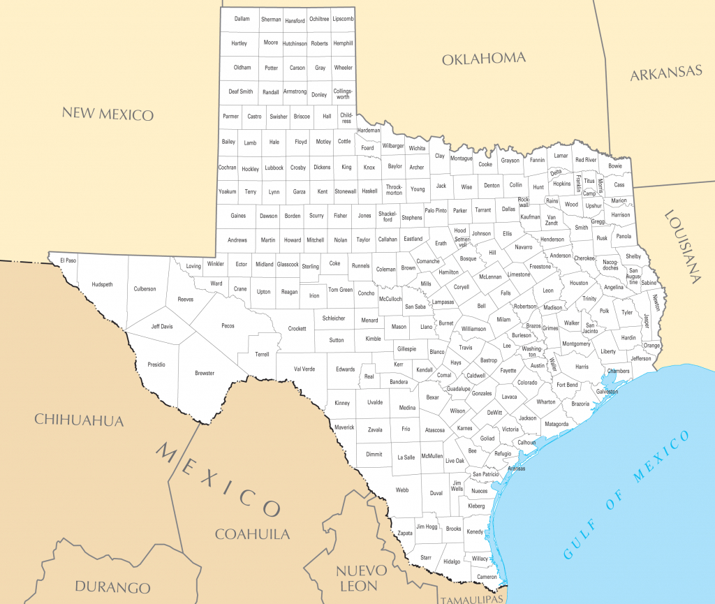 Texas County Map • Mapsof - Full Map Of Texas