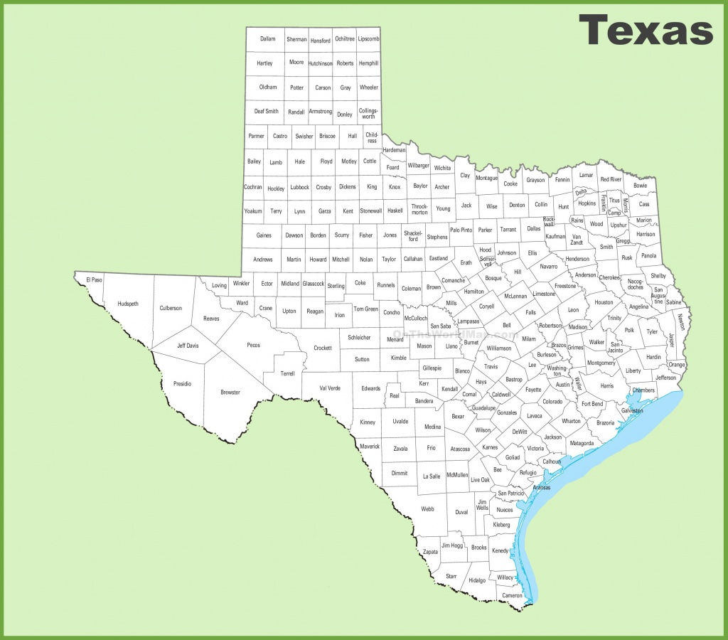Texas County Map - Printable Map Of Texas With Cities