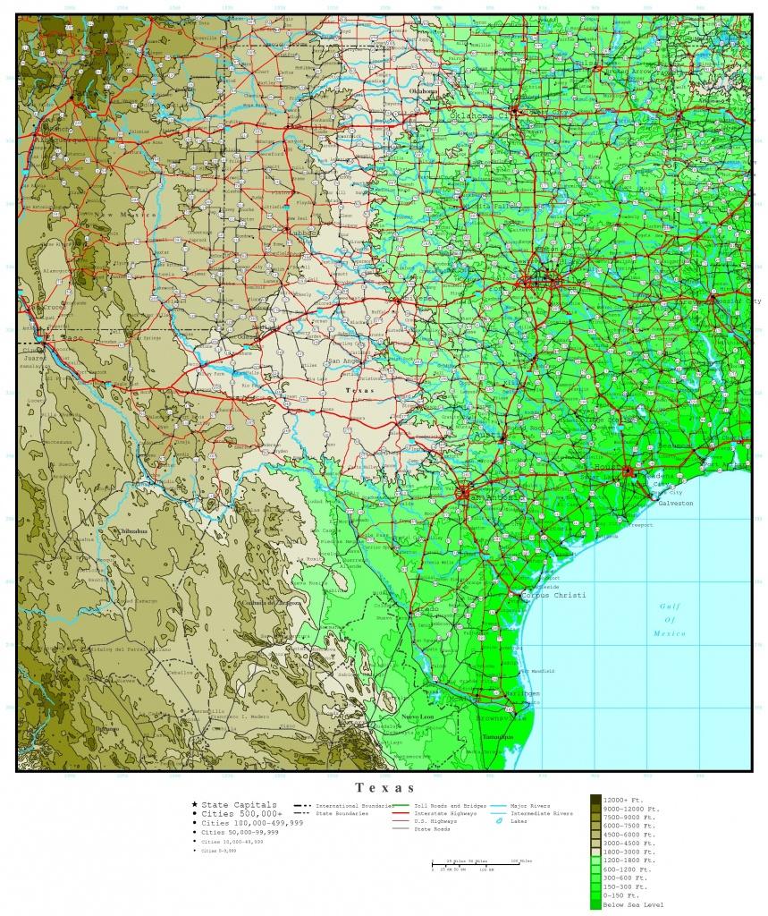 Texas Elevation Map - Texas Elevation Map By County